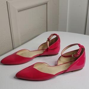 Fuschia patent leather sandals